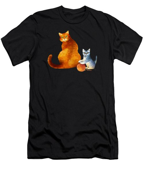Tabby Cat And Kitten Men's T-Shirt (Athletic Fit)