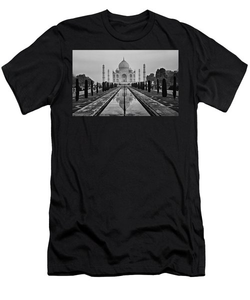 Taj Mahal In Black And White Men's T-Shirt (Slim Fit) by Jacqi Elmslie