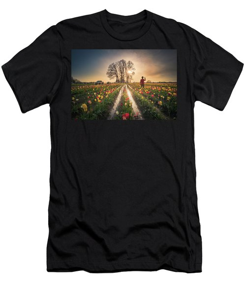 Men's T-Shirt (Athletic Fit) featuring the photograph Taking Sunset Pictures Using A Mobile Phone by William Lee