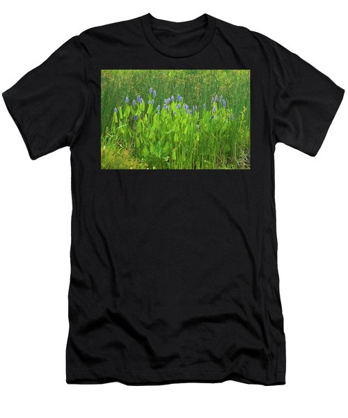 Tall Purple And Blue Blooming Flowers Men's T-Shirt (Athletic Fit)