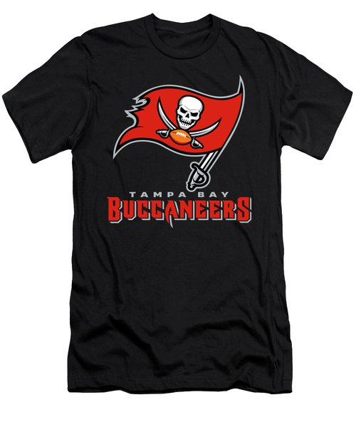 Tampa Bay Buccaneers On An Abraded Steel Texture Men's T-Shirt (Athletic Fit)