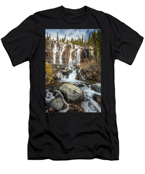 Men's T-Shirt (Slim Fit) featuring the photograph Tangle Waterfall On The Icefield Parkway by Pierre Leclerc Photography