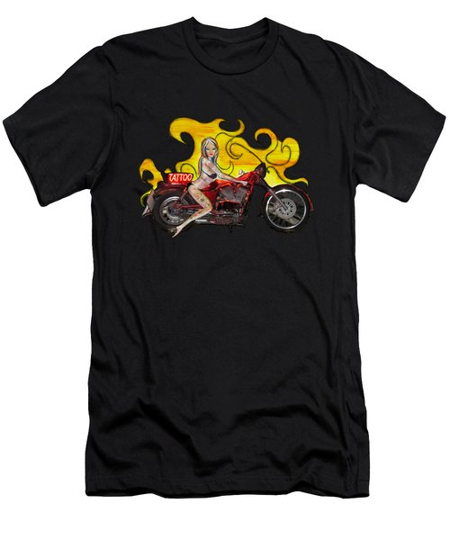 Tattoo Pinup Girl On Her Motorcycle Men's T-Shirt (Slim Fit) by Tom Conway