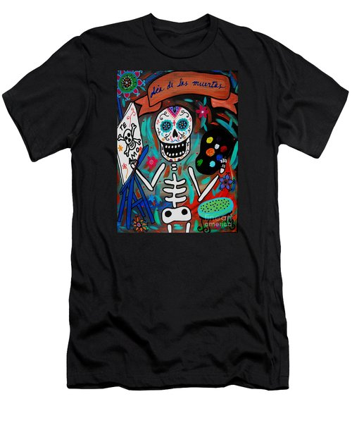 Te Amo Painter Dia De Los Muertos Men's T-Shirt (Slim Fit) by Pristine Cartera Turkus