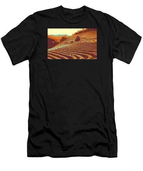 Men's T-Shirt (Athletic Fit) featuring the pyrography Tea Field by Artistic Panda