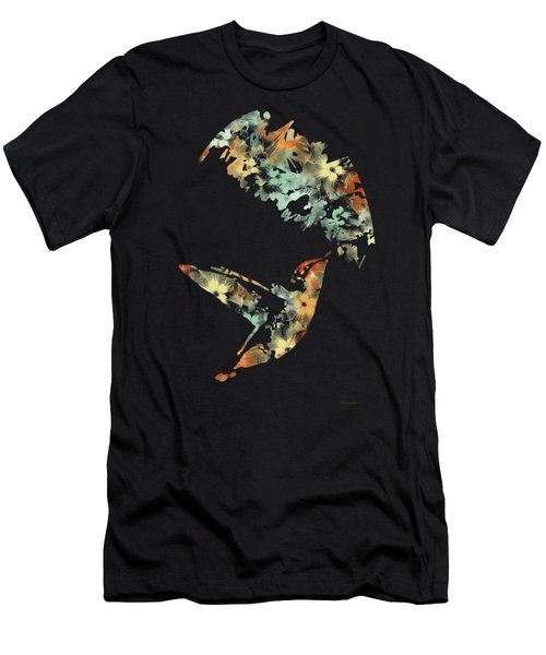 Floral Hummingbird Art Men's T-Shirt (Athletic Fit)