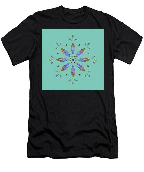 Teal Flower Men's T-Shirt (Athletic Fit)