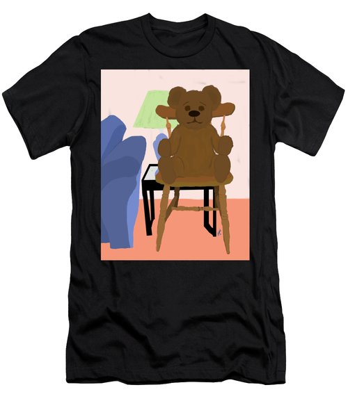 Teddy Bear On Wooden Chair Men's T-Shirt (Athletic Fit)