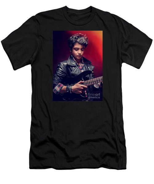 Teen Guy Playing On Guitar Men's T-Shirt (Athletic Fit)