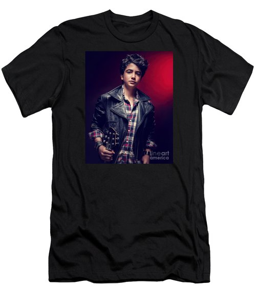 Teen Guy Posing With Guitar Men's T-Shirt (Athletic Fit)