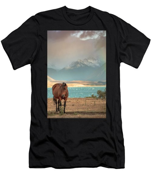 Men's T-Shirt (Athletic Fit) featuring the photograph Tekapo Horse by Chris Cousins
