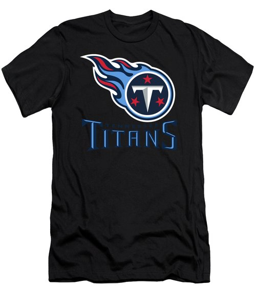 Tennessee Titans On An Abraded Steel Texture Men's T-Shirt (Athletic Fit)