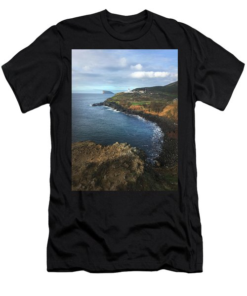 Men's T-Shirt (Athletic Fit) featuring the photograph Terceira Island Coast With Ilheus De Cabras And Ponta Das Contendas Lighthouse  by Kelly Hazel