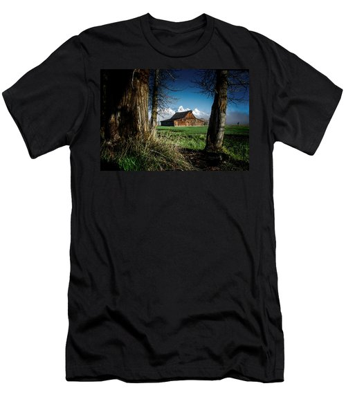 Men's T-Shirt (Athletic Fit) featuring the photograph Tetons And Moulton Barn by Scott Read