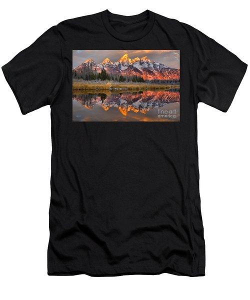 Teton Mountains Sunrise Rainbow Men's T-Shirt (Athletic Fit)