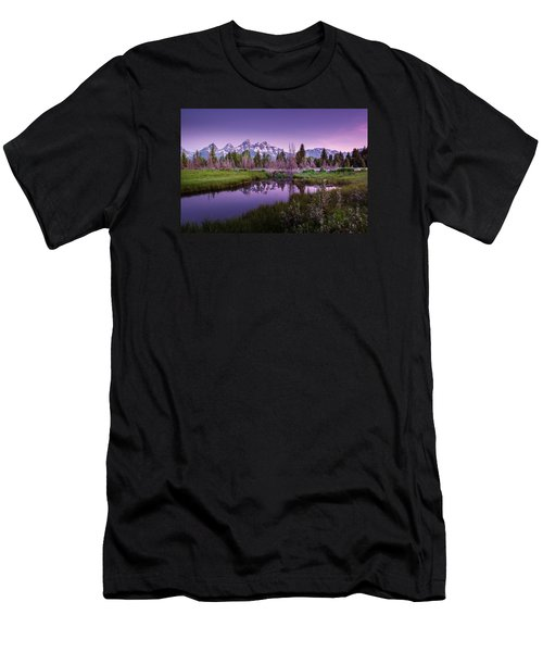 Tetons In Pink Men's T-Shirt (Slim Fit) by Mary Angelini