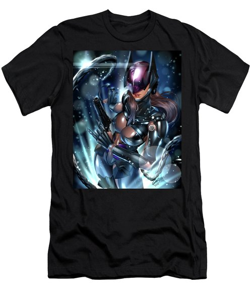 Men's T-Shirt (Slim Fit) featuring the painting Tetsuya Nomura Catwoman by Pete Tapang