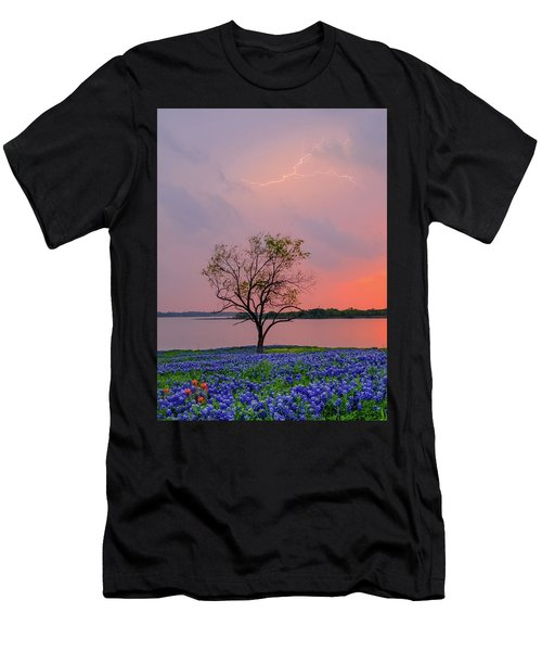 Texas Bluebonnets And Lightning Men's T-Shirt (Athletic Fit)