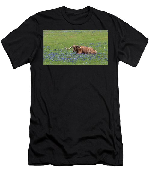Texas Longhorn And Bluebonnets Men's T-Shirt (Athletic Fit)