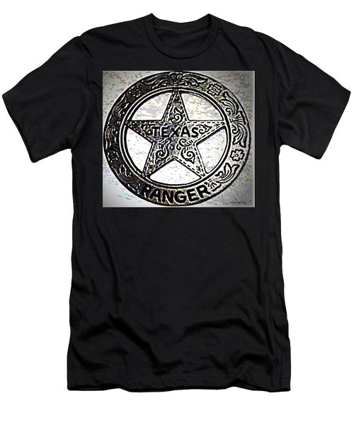 Men's T-Shirt (Slim Fit) featuring the photograph Texas Ranger Badge by George Pedro