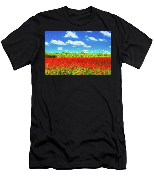 Texas Red Poppies Men's T-Shirt (Athletic Fit)