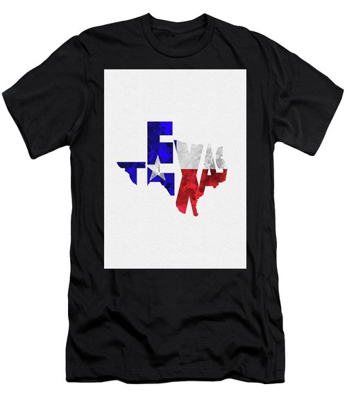 Texas Typographic Map Flag Men's T-Shirt (Athletic Fit)