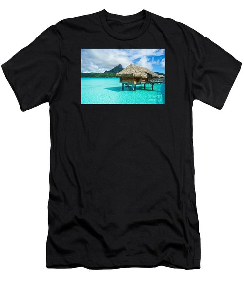 Men's T-Shirt (Athletic Fit) featuring the photograph Thatched Roof Honeymoon Bungalow On Bora Bora by IPics Photography