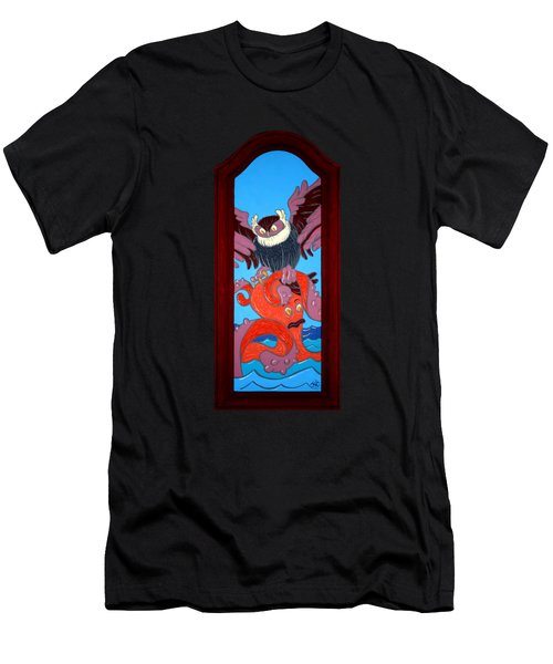 The Apprehension Painted On A Salvaged Cabinet Door Men's T-Shirt (Athletic Fit)