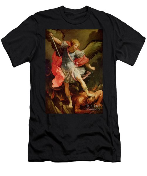 The Archangel Michael Defeating Satan Men's T-Shirt (Athletic Fit)