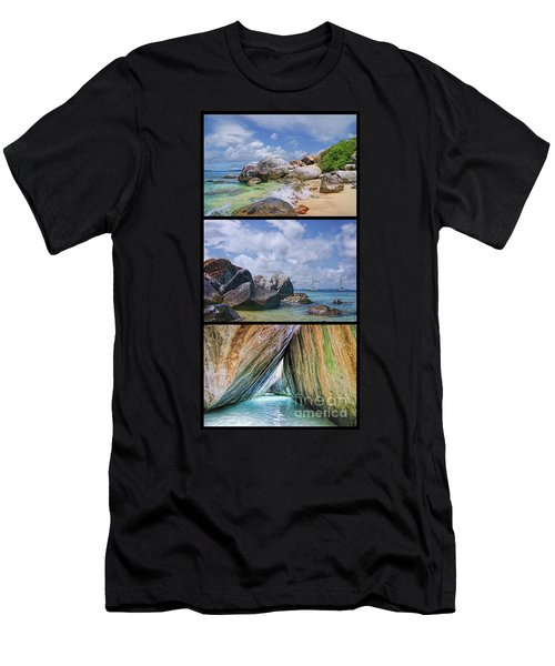 The Baths Virgin Gorda National Park Triptych Men's T-Shirt (Slim Fit) by Olga Hamilton