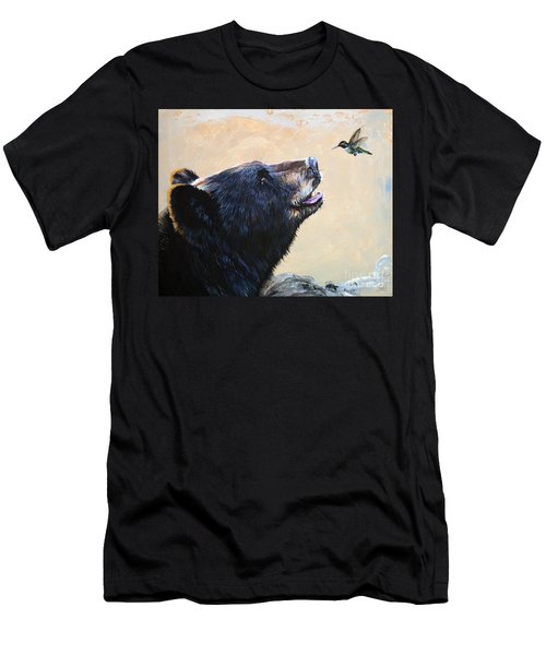 The Bear And The Hummingbird Men's T-Shirt (Athletic Fit)