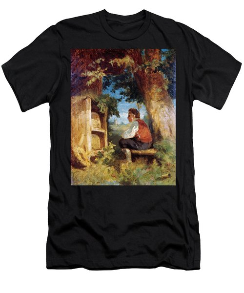 Men's T-Shirt (Athletic Fit) featuring the painting The Bee Friend by Hans Thoma