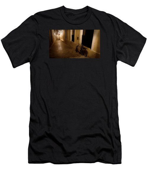 Men's T-Shirt (Slim Fit) featuring the photograph The Bicycle And The Brick Road by DigiArt Diaries by Vicky B Fuller