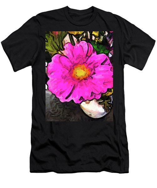 The Big Pink And Yellow Flower In The Little Vase Men's T-Shirt (Athletic Fit)
