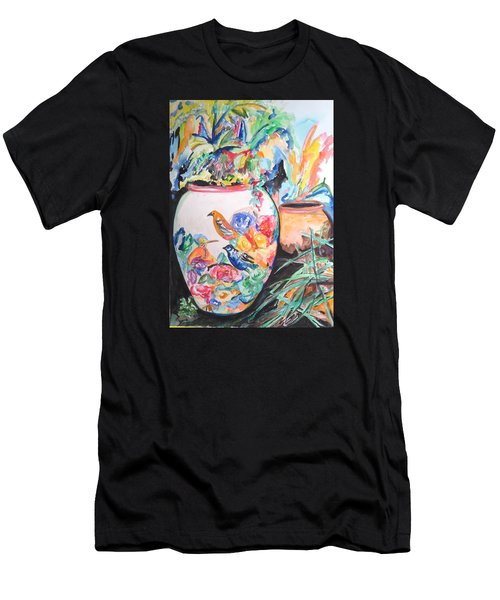 The Bird Flower Pot Men's T-Shirt (Slim Fit) by Esther Newman-Cohen