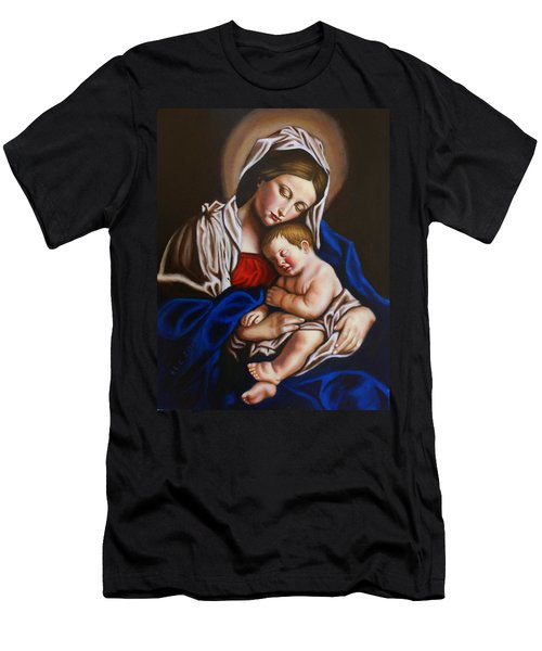 The Blessed Mother And The Infant Jesus Men's T-Shirt (Athletic Fit)