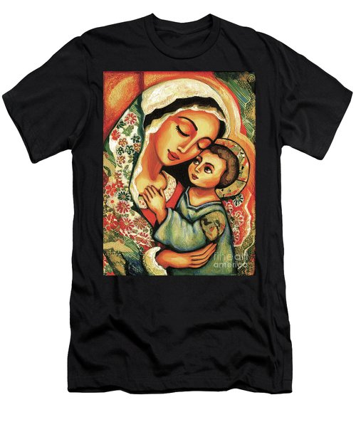 Men's T-Shirt (Slim Fit) featuring the painting The Blessed Mother by Eva Campbell