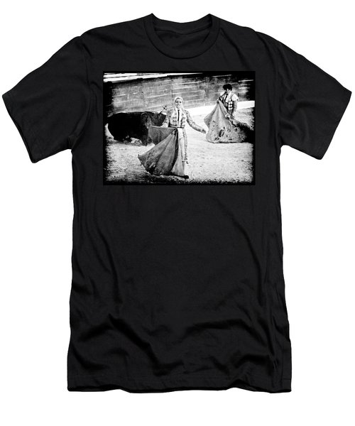 Men's T-Shirt (Athletic Fit) featuring the photograph The Blond, The Bull And The Coup De Gras Bullfight by Jennifer Wright