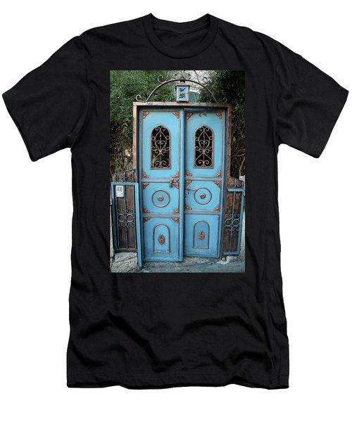 The Blue And Gold Door Of Jerusalem Men's T-Shirt (Slim Fit) by Yoel Koskas