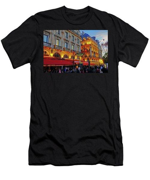 The Boulevard Saint Michel At Dusk In Paris, France Men's T-Shirt (Slim Fit) by Richard Rosenshein