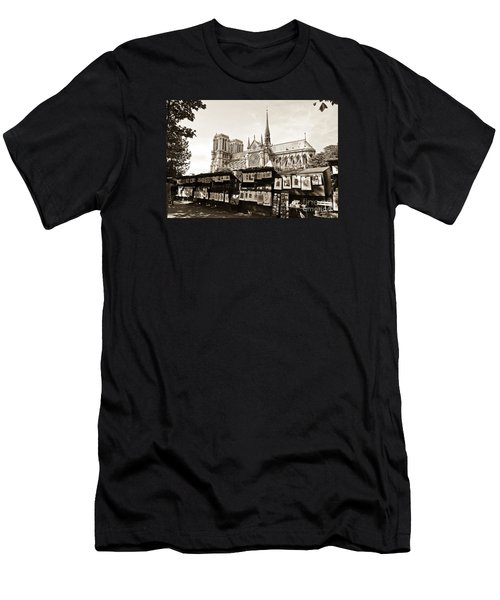 The Bouquinistes And Notre-dame Cathedral Men's T-Shirt (Slim Fit) by Perry Van Munster