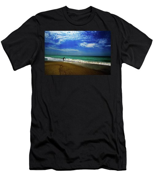 Men's T-Shirt (Slim Fit) featuring the photograph The Boy At The Beach  by John Harding