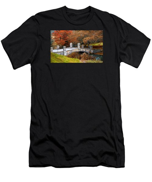 Men's T-Shirt (Athletic Fit) featuring the photograph The Bridge To Autumn By Mike Hope by Michael Hope