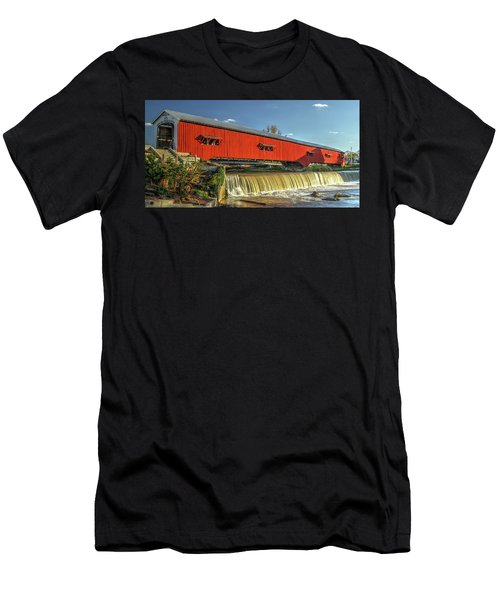 The Bridgeton Covered Bridge Men's T-Shirt (Slim Fit) by Harold Rau