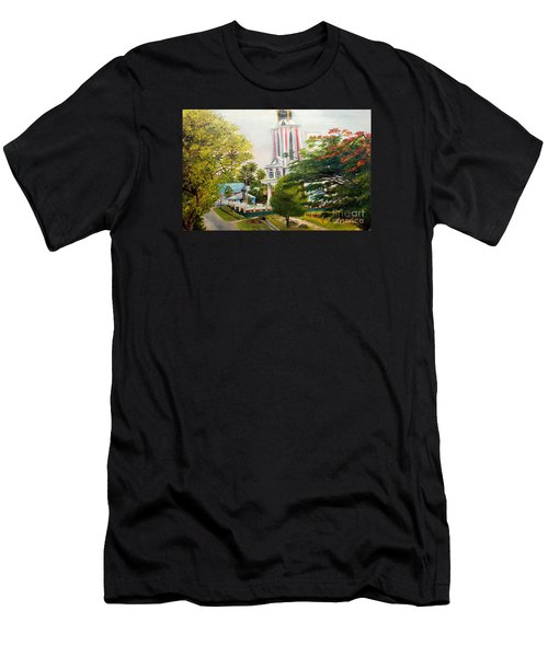 Men's T-Shirt (Slim Fit) featuring the painting The Church In My Village by Jason Sentuf