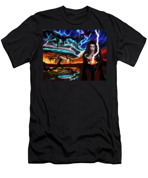 Men's T-Shirt (Slim Fit) featuring the painting The Dark Caster Calls The Storm by James Christopher Hill