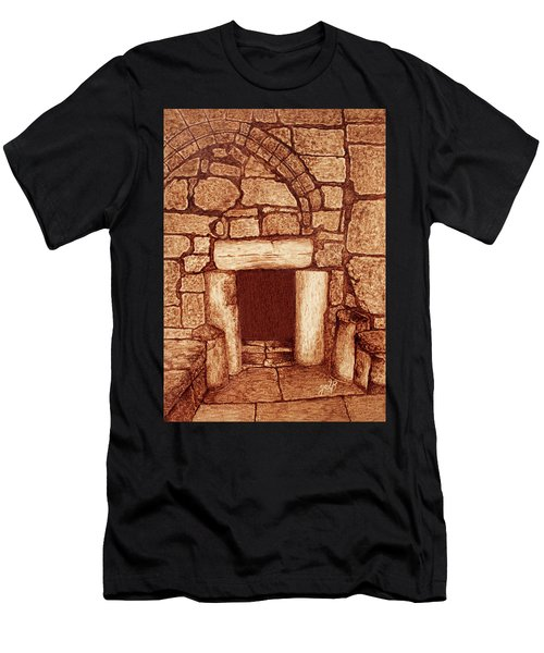Men's T-Shirt (Athletic Fit) featuring the painting The Door Of Humility At The Church Of The Nativity Bethlehem by Georgeta Blanaru