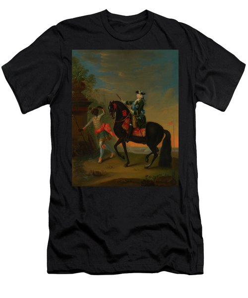Men's T-Shirt (Slim Fit) featuring the painting The Empress Elizabeth Of Russia by Georg Grooth