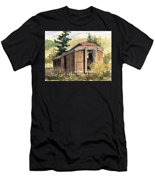 Men's T-Shirt (Athletic Fit) featuring the painting The End Of The Line by Sam Sidders