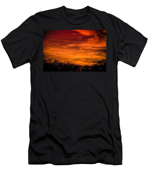 The Evening Sky Of Fire Men's T-Shirt (Slim Fit) by David Collins